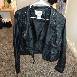 Black fake leather jacket!